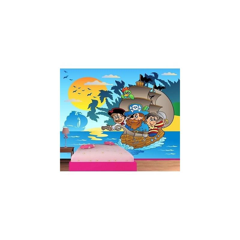 Deco Chambre Peinture Verte : Papier peint enfant géant Pirates bateau 604  Stickers
