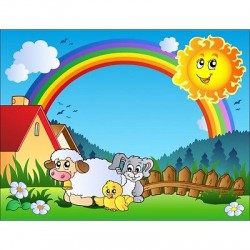Papier peint enfant géant Soleil mouton 616
