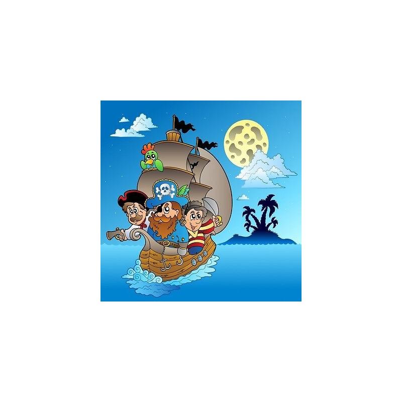 Deco Chambre Peinture Verte : Papier peint enfant géant Pirates bateau 2009  Stickers