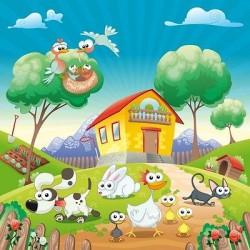 Papier peint enfant géant Animaux de la ferme 2010