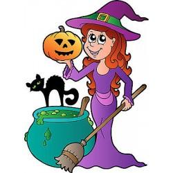 Stickers autocollant muraux enfant Sorcière Halloween réf 3687