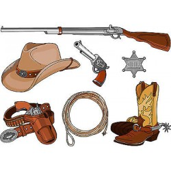 Stickers kit enfant planche de stickers Cowboys ref 3609 (7 dimensions)