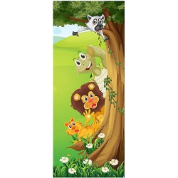 Sticker enfant porte Animaux jungle réf 1729