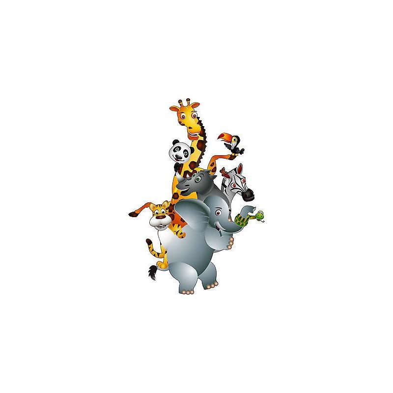 Stickers autocollant muraux enfant animaux jungle r f 3602 for Autocollant muraux