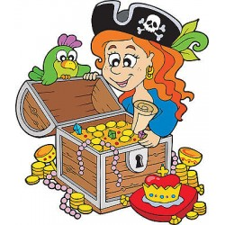 Sticker autocollant enfant trésor pirate réf 3593