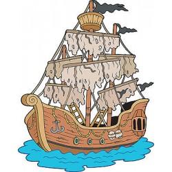 Sticker autocollant enfant Bateau pirate réf 3591