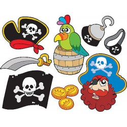 Stickers kit enfant planche de stickers Pirates ref 3590 (7 dimensions)