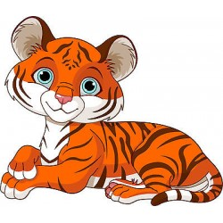 Stickers enfant Tigre réf 3579 (Dimensions de 10 cm à 130cm de largeur)