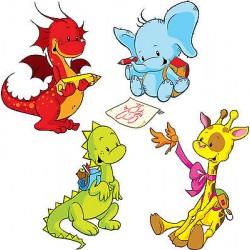 Stickers kit enfant planche de 4 stickers animaux réf 3575