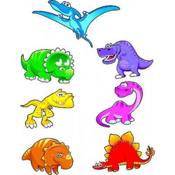 Stickers kit enfant planche de 7 stickers dinosaures ref 3572 (7 dimensions)