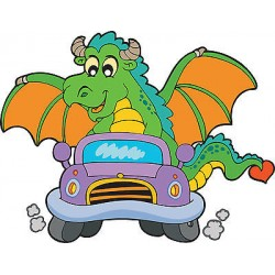 Stickers enfant Dragon voiture réf 3700 (Dimensions de 10cm à 130cm de largeur)