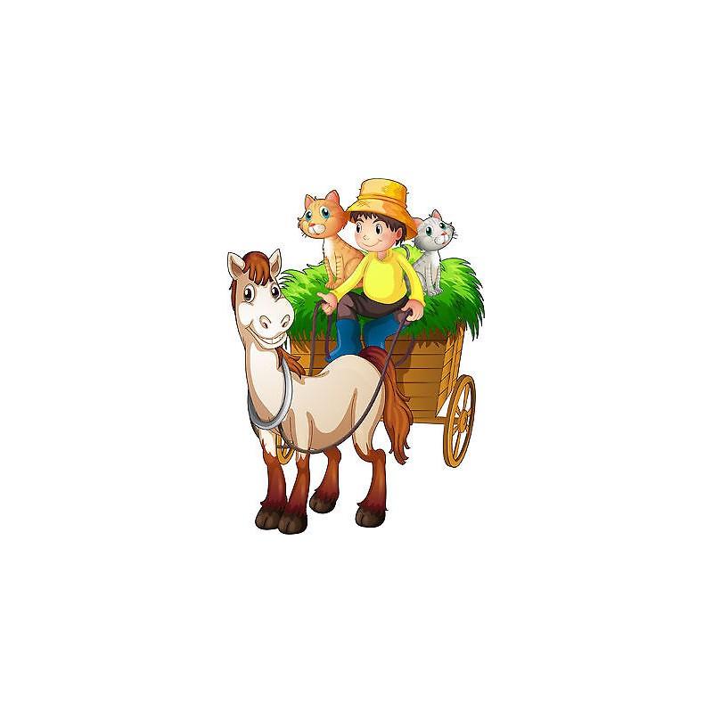 Stickers autocollant muraux enfant cheval charette r f for Autocollant muraux