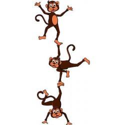 Stickers autocollant muraux enfant 3 singes réf 3639 (30 dimensions)