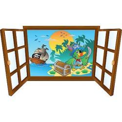 Sticker enfant fenêtre perroquet pirate réf 3913