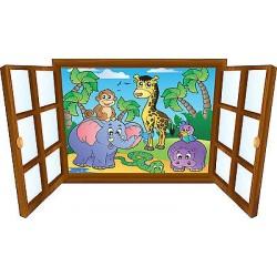 Sticker enfant fenêtre Animaux de la jungle réf 3901