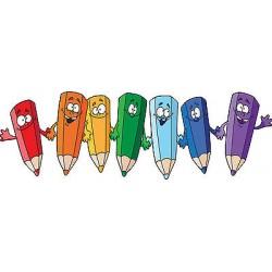 Sticker enfant Crayons réf 3520 (Dimensions de 10 cm à 130cm de largeur)