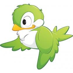 Stickers enfant Oiseau Vert réf 3563 (Dimensions de 10cm à 130cm de largeur)