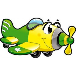 Stickers muaux enfant Avion réf 3557 (Dimensions de 10cm à 130cm de largeur)