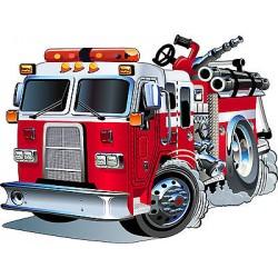Stickers enfant Camion pompier réf 3548 (Dimensions de 10cm à 130cm de largeur)