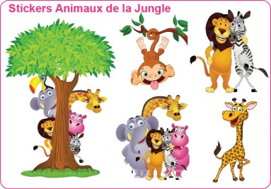 Stickers enfant animaux de la jungle