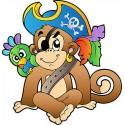 Sticker enfant Singe pirate réf 2544 (Dimensions de 10 cm à 130cm de hauteur)