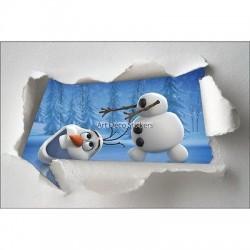 Stickers enfant papier déchiré Olaf la reine des neiges réf 7636