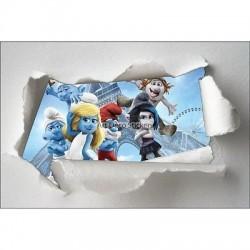 Stickers enfant papier déchiré Schtroumpf réf 7634