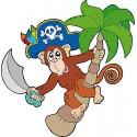 Sticker enfant décoration murale Singe pirate réf 986