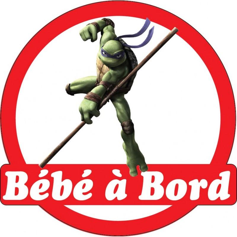 Sticker enfant b b bord tortue ninja 16x16cm r f 15136 - Mechant tortue ninja ...