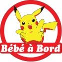 Sticker enfant Bébé à bord Pikachu 16x16cm réf 15137