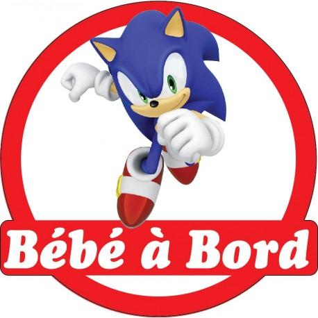 Sticker enfant Bébé à bord Sonic 16x16cm réf 15139