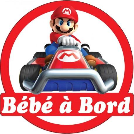 Sticker enfant Bébé à bord Mario 16x16cm réf 15141