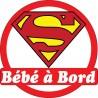 Sticker enfant Bébé à bord Superman 16x16cm réf 15142