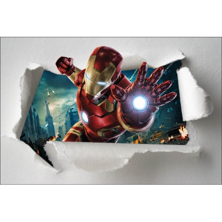 Stickers enfant papier d chir iron man avengers r f 7648 for Maison d iron man