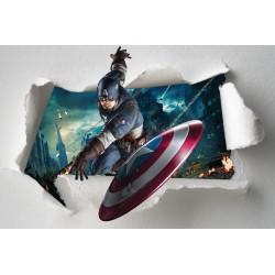 Stickers enfant papier déchiré Captain América Avengers réf 7649