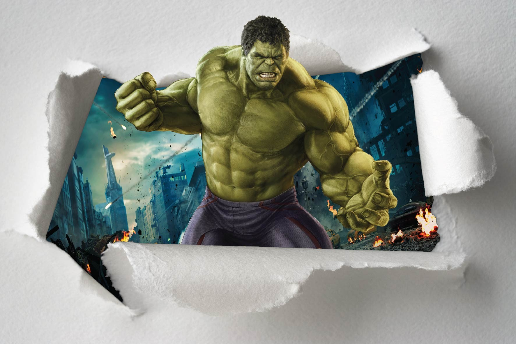sticker mural hulk wall murals. Black Bedroom Furniture Sets. Home Design Ideas