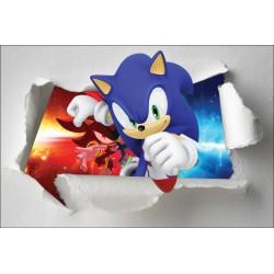 Stickers enfant papier déchiré Sonic réf 7651