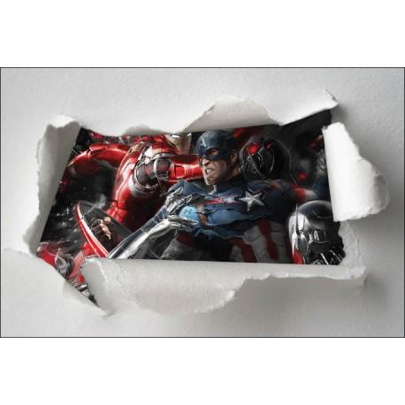 Stickers enfant papier déchiré Avengers réf 7662