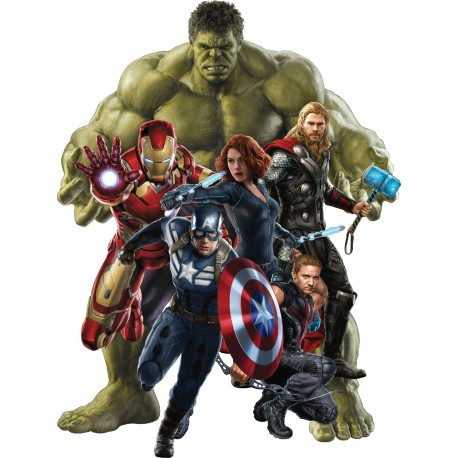 Stickers Hulk-Iron man-Captain América-Hawkeye-Black Widow Avengers ref 15043