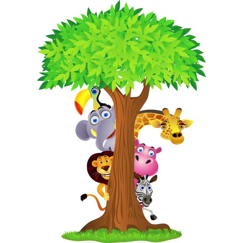 stickers arbre animaux de la jungle 2639 stickers muraux enfant. Black Bedroom Furniture Sets. Home Design Ideas