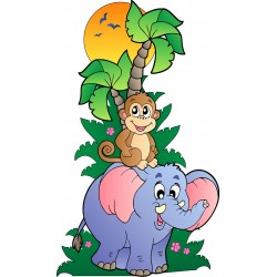 Stickers Arbre Animaux jungle 15207