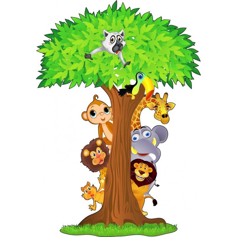 stickers arbre animaux jungle 15208 stickers muraux enfant. Black Bedroom Furniture Sets. Home Design Ideas