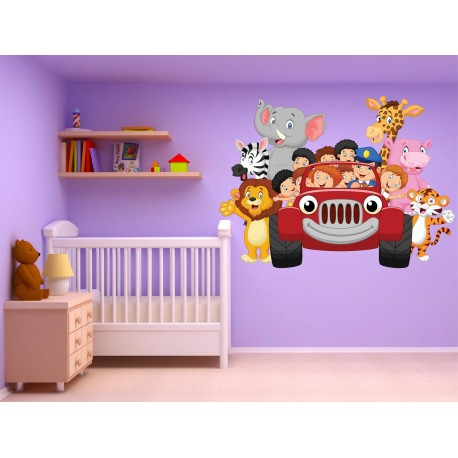 Stickers muraux enfant Voiture Animaux jungle réf 15217