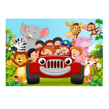 stickers muraux enfant g ant voiture animaux jungle 15217 stickers muraux enfant. Black Bedroom Furniture Sets. Home Design Ideas