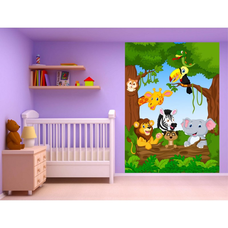 stickers muraux enfant g ant animaux jungle 15220. Black Bedroom Furniture Sets. Home Design Ideas
