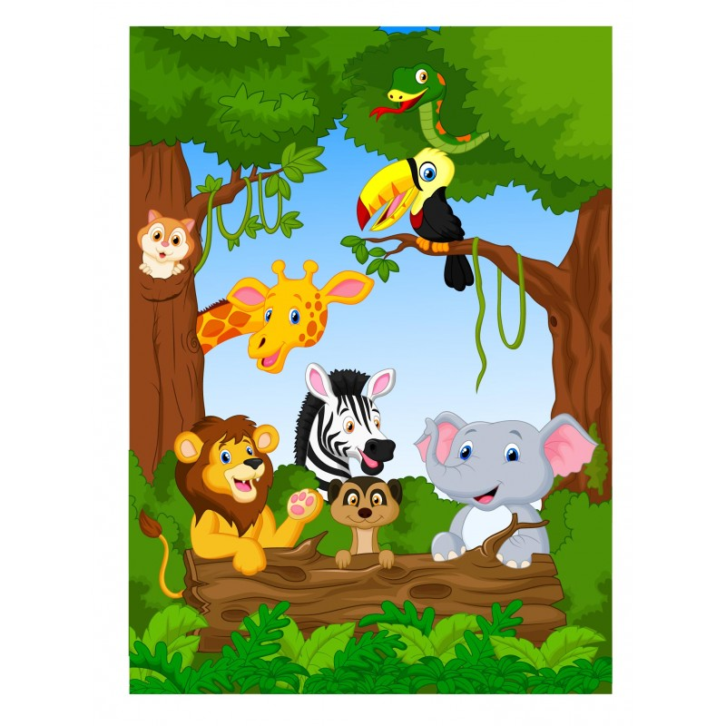 Stickers muraux enfant géant Animaux jungle 15220 - Stickers Muraux ...