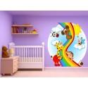 Stickers muraux enfant Animaux Arc en ciel 15236