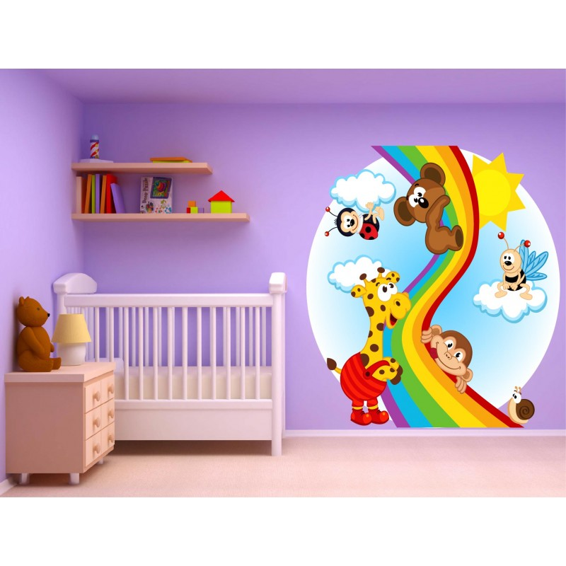 stickers muraux enfant animaux arc en ciel 15236 stickers muraux enfant. Black Bedroom Furniture Sets. Home Design Ideas