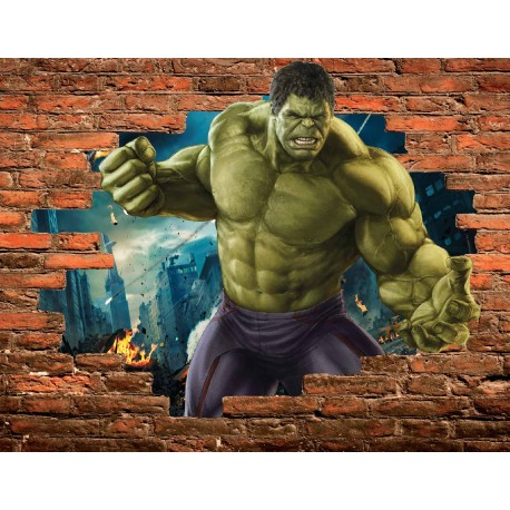 stickers trompe l 39 oeil pierre hulk avengers r f 15100 stickers muraux enfant. Black Bedroom Furniture Sets. Home Design Ideas