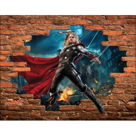 Stickers Trompe l'oeil pierre Thor Avengers réf 15101